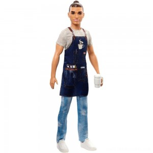 Barbie Ken Career Barista Doll Free Shipping