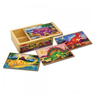 Melissa & Doug Dinosaurs 4-in-1 Wooden Jigsaw Puzzles in a Storage Box (48pc) Free Shipping