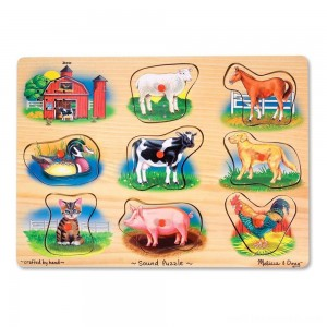 Melissa And Doug Farm Wooden Peg Sound Puzzle 8pc Free Shipping