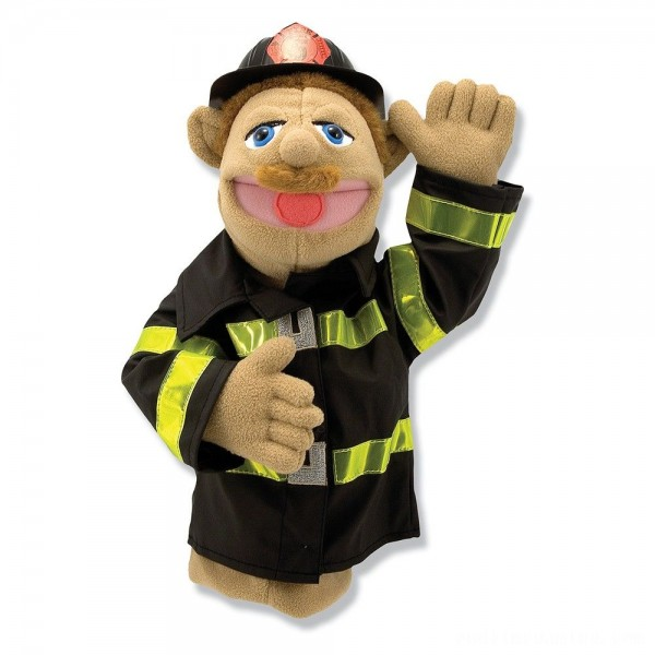 Melissa & Doug Firefighter Puppet With Detachable Wooden Rod Free Shipping
