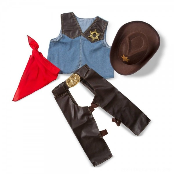 Melissa & Doug Cowboy Role Play Costume Set (5pc) - Includes Faux Leather Chaps, Adult Unisex, Blue/Gold/Red Free Shipping