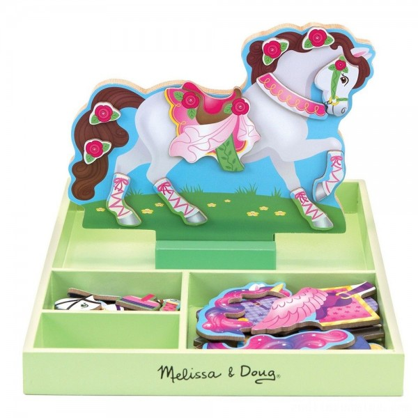 Melissa & Doug My Horse Clover Wooden Doll and Stand With Magnetic Dress-Up Accessories (60 pc Free Shipping