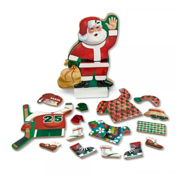 Melissa & Doug Santa Wooden Dress-Up Doll and Stand With Magnetic Accessories (22pc) Free Shipping